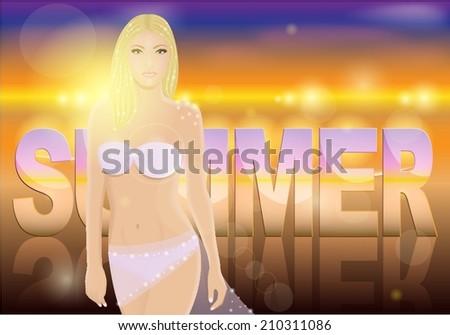 beautiful blond woman in bikini