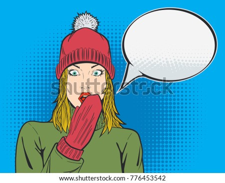 Beautiful Blond Woman in Red Hat and Hand in Knitted Glove Covering the Mouth with Eyes Wide Opened. Wow Expression. Girl in Pop Art Comic Style Winter Christmas Sale Advertising. Vector illustration.