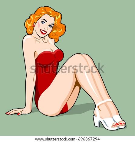 beautiful blonde girl in a red