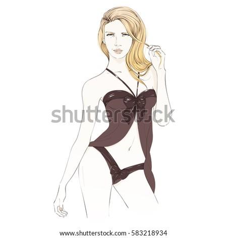 beautiful blonde girl in black