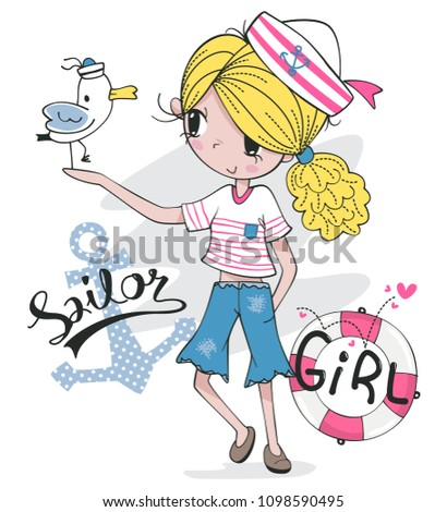 Stock Photo Beautiful blonde girl in sailor costume and seagull stand on the hand isolated on white background illustration vector.