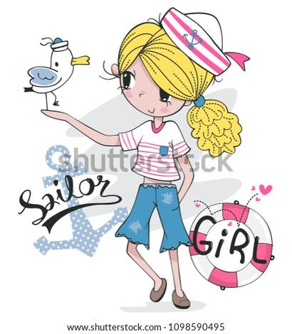 beautiful blonde girl in sailor