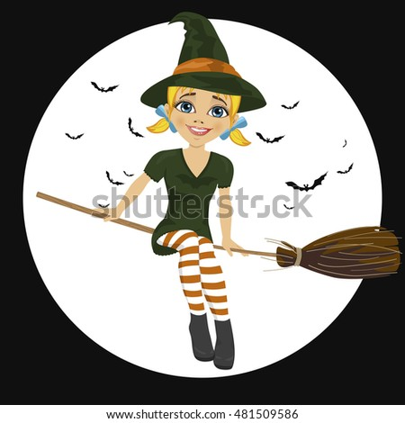 beautiful blonde witch in green