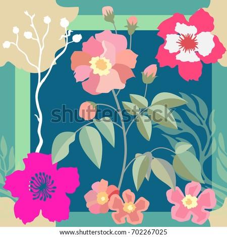 beautiful blooming garden silk