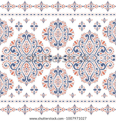 Beautiful blue and orange floral seamless pattern. Vintage. Traditional, Ethnic, Turkish, Indian motifs. Great for fabric and textile, wallpaper, packaging or any desired idea.