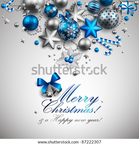 Beautiful blue and silver christmas background. Vector illustration.