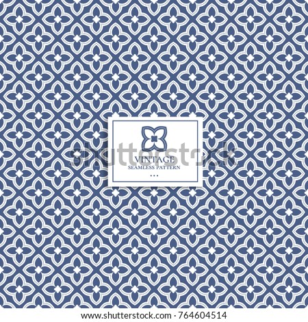 Beautiful blue and white seamless pattern. Vintage. Great for fabric and textile, wallpaper, packaging or any desired idea.