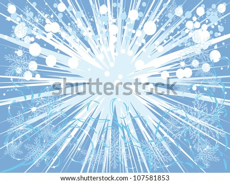 beautiful blue background with various winter elements, Vector illustration