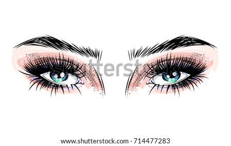 beautiful blue eyes with big