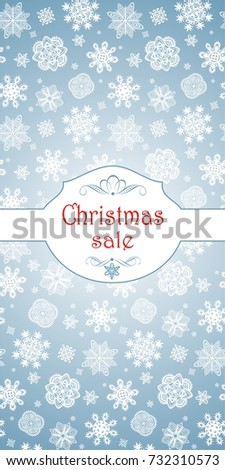 Beautiful blue label for Christmas sale with paper snowflakes