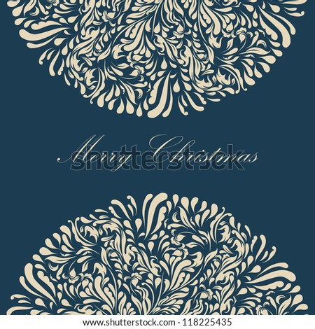Beautiful blue lace ornament for merry christmas card vector eps 8