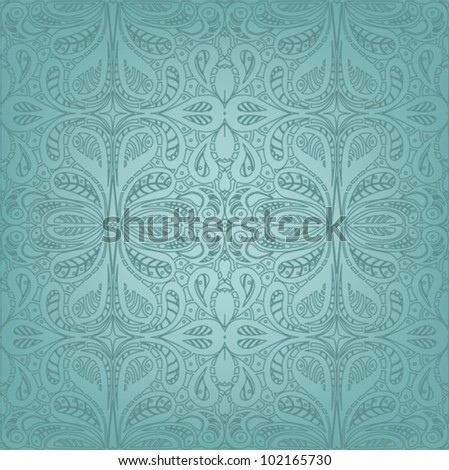 Beautiful blue seamless pattern with classical ornamentation
