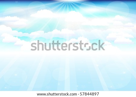 Beautiful  Blue Vector Sky With Clouds, Beams And Stars