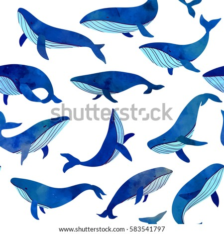 beautiful blue whales seamless