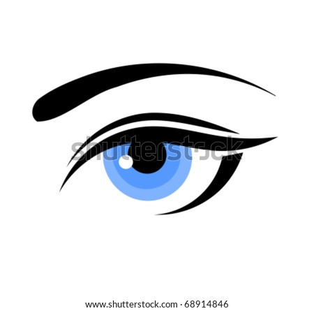 Beautiful blue woman eye. Vector illustration - stock vector