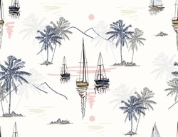 Beautiful botanical vector seamless pattern background with coconut palm trees, sailboat silhouettes, sun, mountaines. Isolated on white background. The Summer beach surfing illustration.