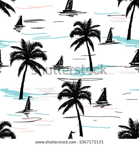 Beautiful botanical vector seamless pattern background with  coconut palm trees, sailboat  silhouettes. Isolated on white background.