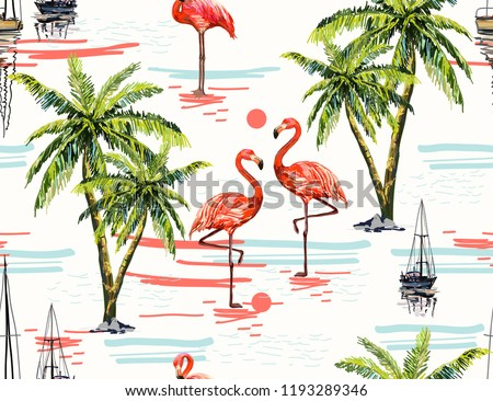Beautiful botanical vector seamless pattern background with coconut palm trees, sailboat silhouettes, sun, pink flamingo. Isolated on white background. The Summer beach surfing illustration.