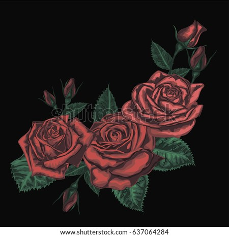 Beautiful bouquet with red roses. Realistic vector art - Red roses  on black background. - Design element for  greeting card