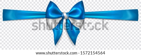 Beautiful bow in colors of Greece flag with horizontal ribbon with shadow on transparent background. Transparency only in vector format