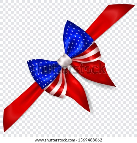 Beautiful bow in colors of USA flag with diagonally ribbon with shadow on transparent background. Transparency only in vector format