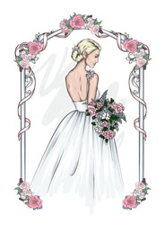 Beautiful bride in a magnificent dress with a bouquet of flowers. Fashion and style, women's wedding clothes. Vector illustration for a card, poster or invitation. Wedding. Girl with long hair.