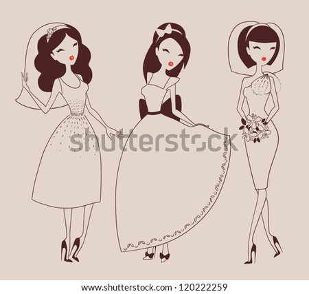 beautiful brides hand drawn isolated on light background vector eps 10 - stock vector