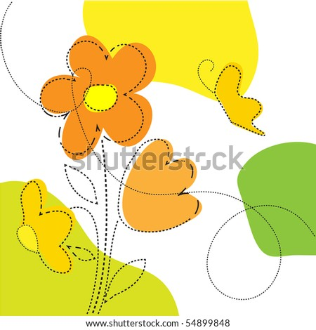 Beautiful bright background with flowers and butterflies. Vector.