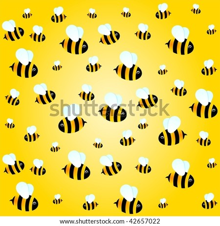 beautiful bright background with funny bees
