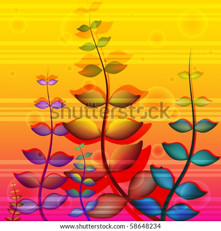 Beautiful bright background with the original plants.