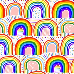 Beautiful bright colorful rainbow isolated on white background. Childish cute seamless pattern. Marker, pencil, ink, felt-tip pen. Vector flat graphic hand drawn illustration. Texture.