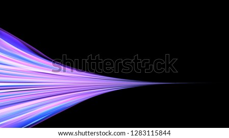 Stock Photo Beautiful bright purple pink abstract energetic magical cosmic fiery texture of lines and stripes, waves, flames with curves turning into infinity on a black background. Copy space. Vector.