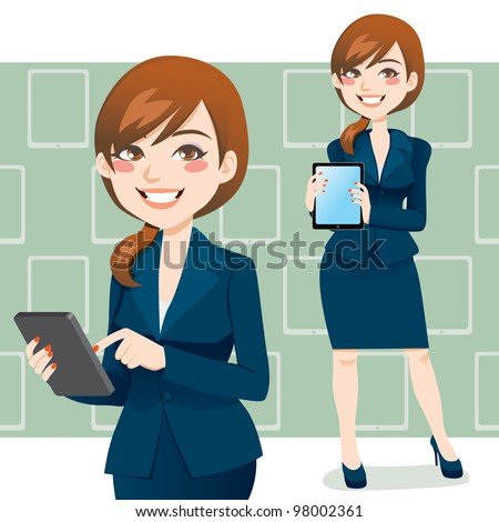 Beautiful brunette business woman using a touch pad tablet portable computer