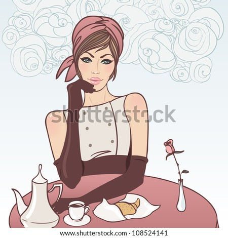 Beautiful brunette girl in the street cafe in the old city drinking coffee. Vector illustration.