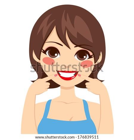 beautiful brunette happy woman
