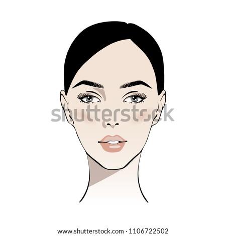 beautiful brunette woman face