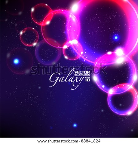 beautiful bubbles galaxy vector background