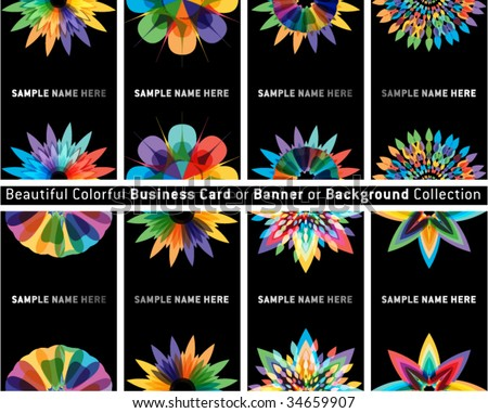 beautiful business card, gift card, bookmark or background set