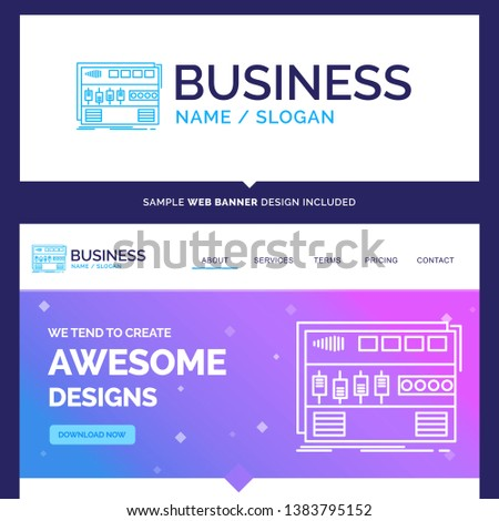 Beautiful Business Concept Brand Name Audio, mastering, module, rackmount, sound Logo Design and Pink and Blue background Website Header Design template. Place for Slogan / Tagline. Exclusive Website