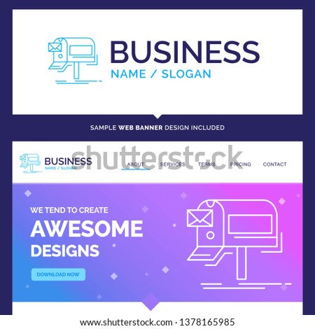 Beautiful Business Concept Brand Name campaigns, email, marketing, newsletter, mail Logo Design and Pink and Blue background Website Header Design template. Place for Slogan / Tagline. Exclusive Websi
