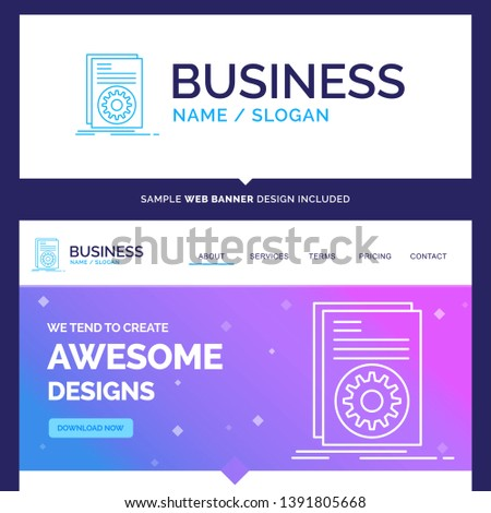 Beautiful Business Concept Brand Name Code, executable, file, running, script Logo Design and Pink and Blue background Website Header Design template. Place for Slogan / Tagline. Exclusive Website ban