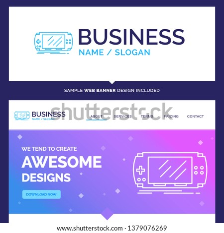 Beautiful Business Concept Brand Name Console, device, game, gaming,  Logo Design and Pink and Blue background Website Header Design template. Place for Slogan / Tagline. Exclusive Website banner.