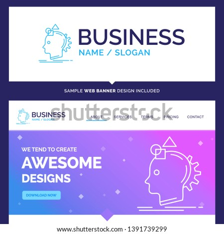 Beautiful Business Concept Brand Name Imagination, imaginative, imagine, idea, process Logo Design and Pink and Blue background Website Header Design template. Place for Slogan / Tagline. Exclusive We