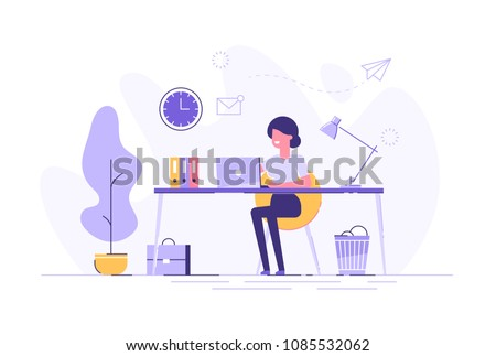 Beautiful businesswoman using laptop while sitting at her desk. Office workplace interior. Flat vector illustration.