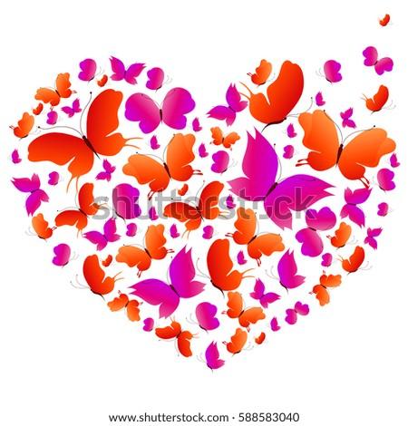 beautiful butterflies heart