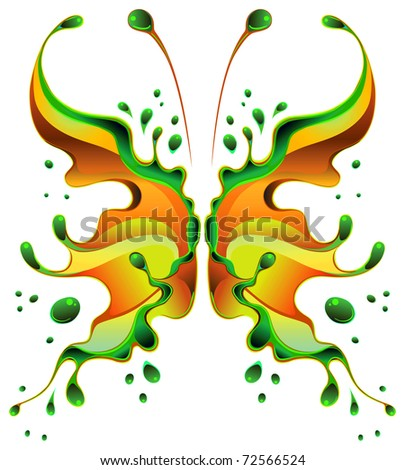 Beautiful butterfly-blot, isolated on white background. The vector art image is very well-organized in groups