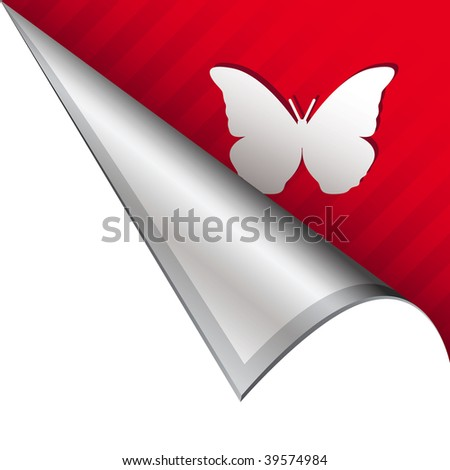 Beautiful butterfly icon on vector peeled corner tab suitable for use in print, on websites, or in advertising materials.