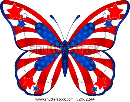 Beautiful butterfly in different colors representing USA