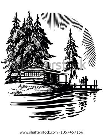 Beautiful Cabin By A Lake - Retro Clip Art Illustration