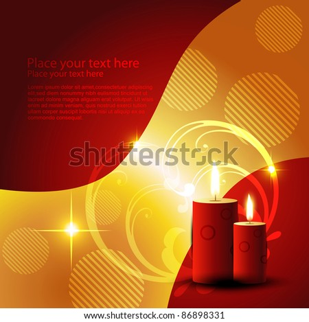 beautiful candle on artistic red background